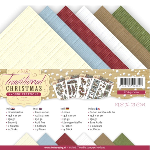 Traditional Christmas DIN A5 - Yvonne Creations - Leinenpapier-Set