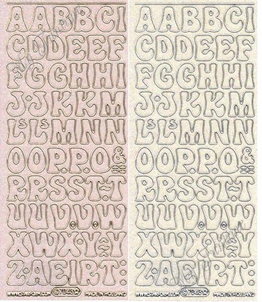 Alphabet - Transparentsticker mit Glitter- / Glitzereffekt in Gold oder Silber - Format 10x23cm