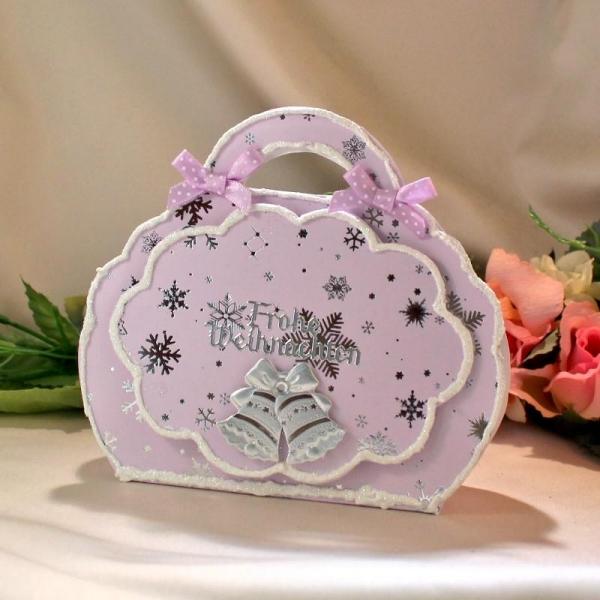 Geschenktasche zum Weihnachtsfest - Rosa / Silber - laminiert