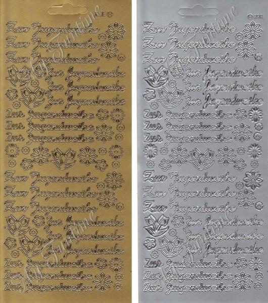 Sticker - Zur Jugendweihe in Gold oder Silber - Format 10x23cm