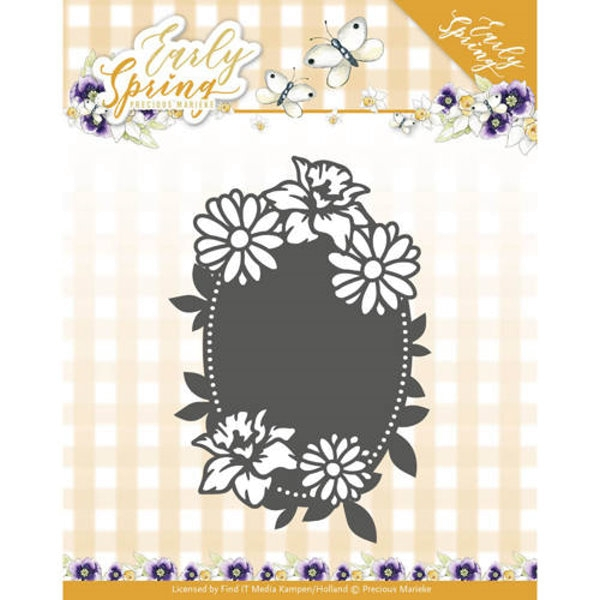 Spring Flowers Oval label - Stanzschablone