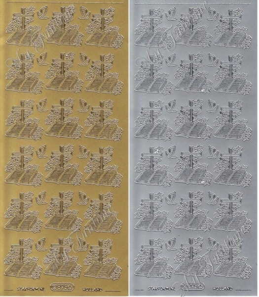 Sticker - Bibel mit Kreuz in Gold oder Silber - Format 10x23cm