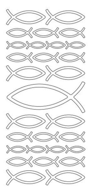 euchartische Fische in Weiss - Peel-of-Sticker - Format 10x23cm