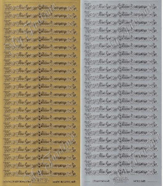Herzlichen Glückwunsch - Gotische Schrift - Sticker in Gold oder Silber - Format 10x23cm