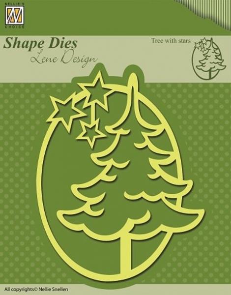Weihnachtsbaum mit Sternen - Stanzschablone