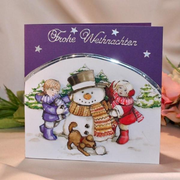 """Grußkarte zum Weihnachtsfest - 3D-Motiv """"Kinder mit Schneemann"""""""