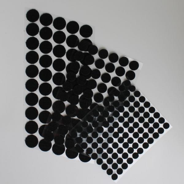 Selbstklebende Klettpunkte, rund 10 / 15 / 20 mm - schwarz