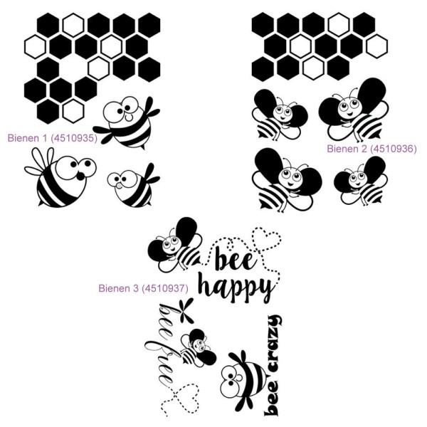 Bienen in 3 versch. Varianten - Stempel - Clearstamp