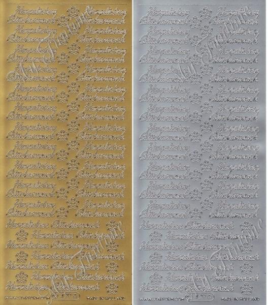Herzlichen Glückwunsch - Sticker in Gold oder Silber - Format 10x23cm