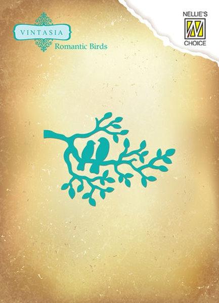 Vögel auf einen Ast / Romantic birds branch - Stanz- und Prägeschablone