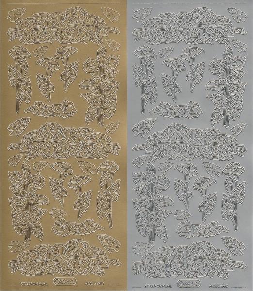 Aronstäbe / Callas - Kondolenz - Sticker - in Gold oder Silber - Format 10x23cm