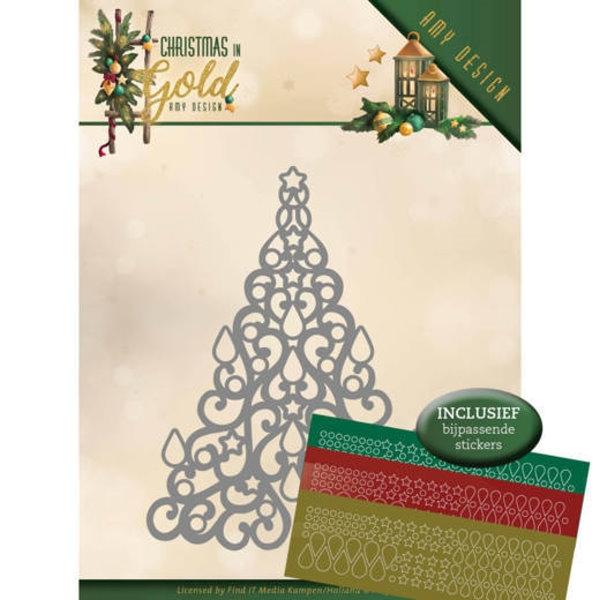 Christmas Tree / Weihnachtsbaum - Stanzschablone + Hobbydots (Sticker)