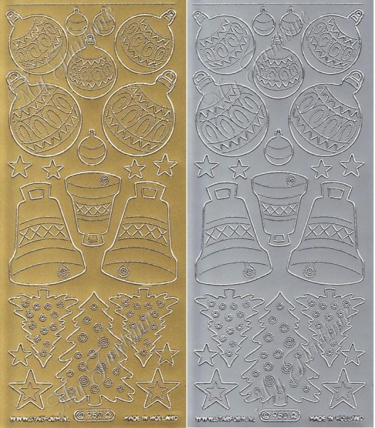 Weihnachtsglocken, -Kugeln, und -Bäume - Sticker in Gold oder Silber - Format 10x23cm