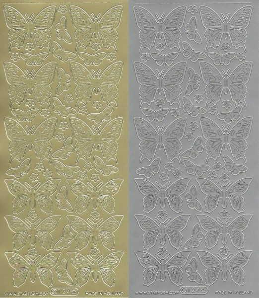 Schmetterlinge Nr. 1 - Sticker - in Gold oder Silber - Format 10x23cm
