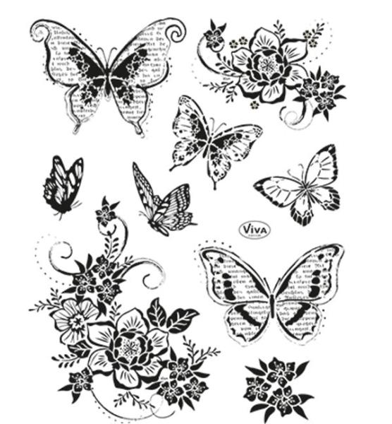 Stempel - Clearstamp - Blumen & Schmetterlinge II | MyFuntime ...