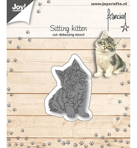 sitzende Katze - Stanzschablone