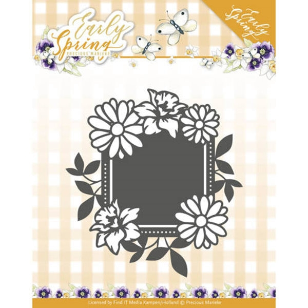 Spring Flowers Square label - Stanzschablone