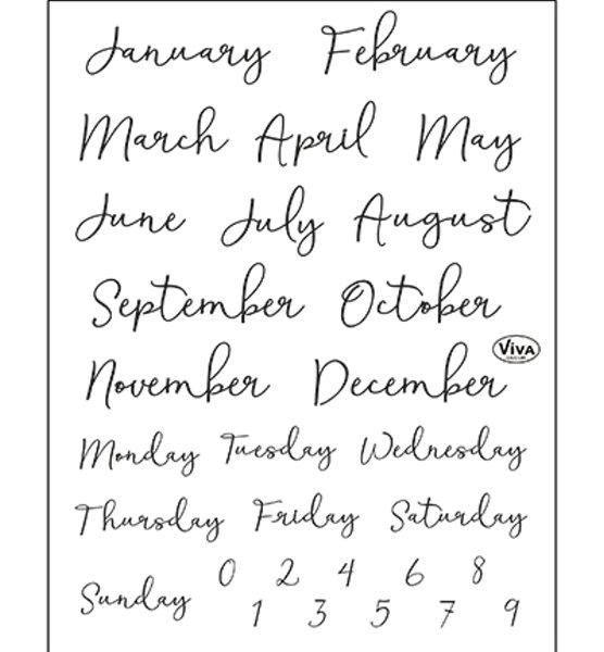 Kalenderbeschriftung Monats- und Tagesangaben - Stempel - Clearstamp