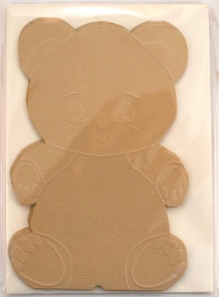 3 Grußkarten (Rohlinge) - Bärchen inkl. Briefumschläge