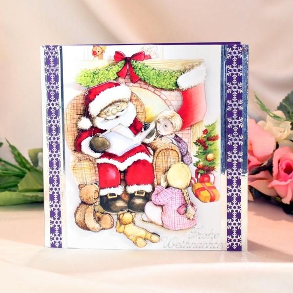 """Grußkarte zum Weihnachtsfest - 3D-Motiv """"Weihnachtsmann mit Kinder"""""""