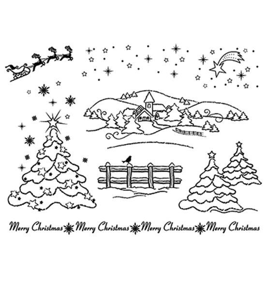 Weihnachtslandschaft - Stempel - Clearstamp