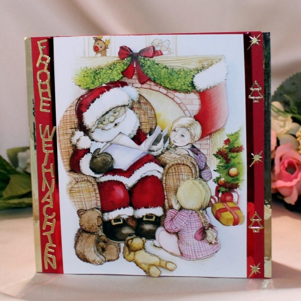 """Grußkarte zum Weihnachtsfest - 3D-Motiv """"Weihnachtsmann mit Kindern - vorlesen"""""""