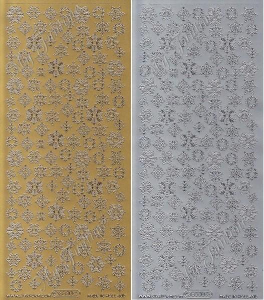 Schneeflocken / Eiskristalle - Sticker in Gold oder Silber - Format 10x23cm