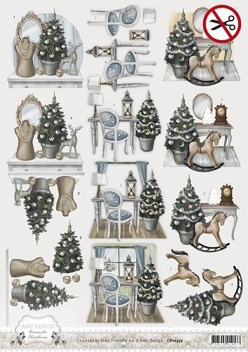 Weihnachtliches Zimmer - Brocante Christmas - 3D - Stanzbogen SB10052