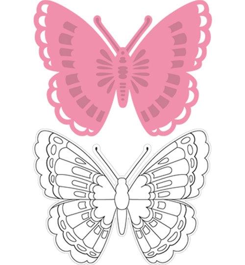 Schmetterling 1 - Stanzschablone und Stempel im Set