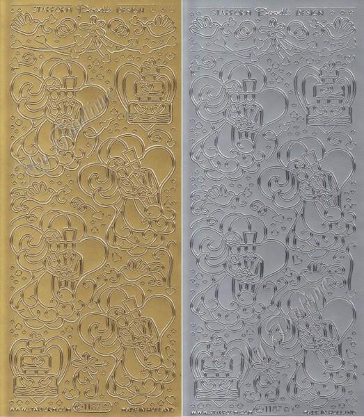 Hochzeit - Brautpaar - Sticker - Gold oder Silber - Format 10x23cm