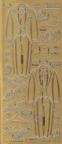 Sticker - Hochzeit - Anzug in Gold - Format 10x23cm