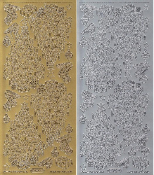 """Sticker - """"Weihnachtsbäume - Groß"""" in Gold oder Silber - Format 10x23cm"""