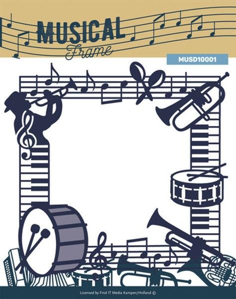 Stanzschablone - Musikinstrumente als Rahmen / Border