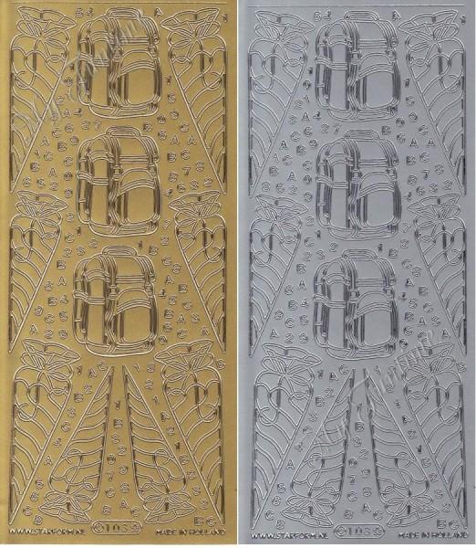 Einschulungsmotive - Sticker in Gold oder Silber - Format 10x23cm