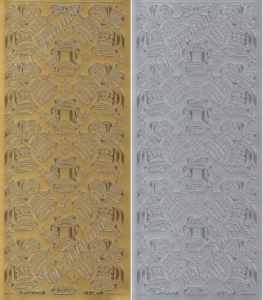 """Sticker - """"Weihnachtsglocken - Groß"""" in Gold oder Silber - Format 10x23cm"""