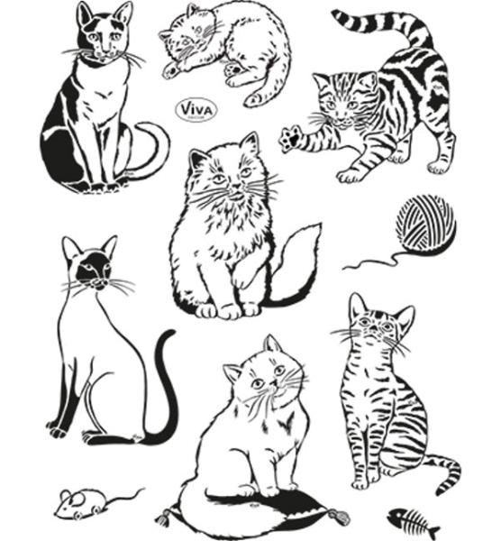 Katzen - Stempel / Clearstamp