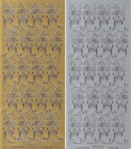 """Sticker - """"Weihnachtssocken / -Stümpfe"""" in Gold oder Silber - Format 10x23cm"""