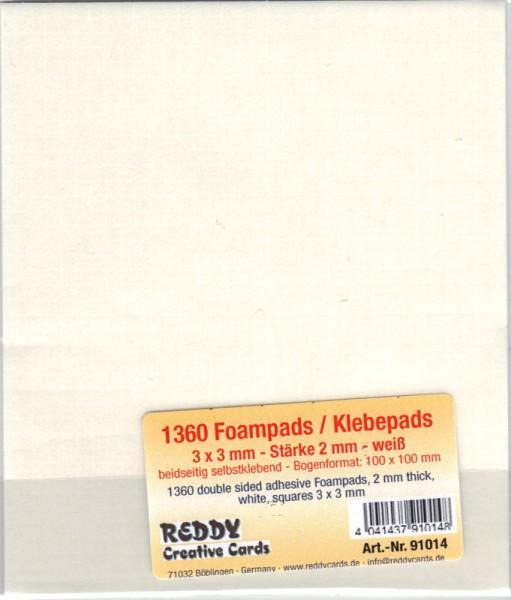 Foampads / Klebepads - 3x3x2 mm - selbstklebend, weiß