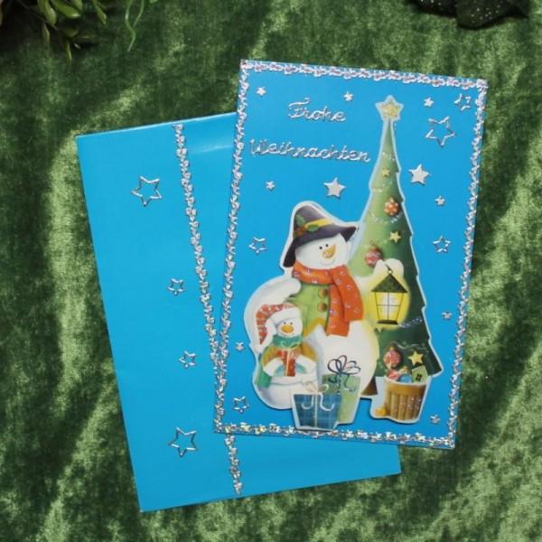 Grusskarte zum Weihnachtsfest (Schneemannmotive)