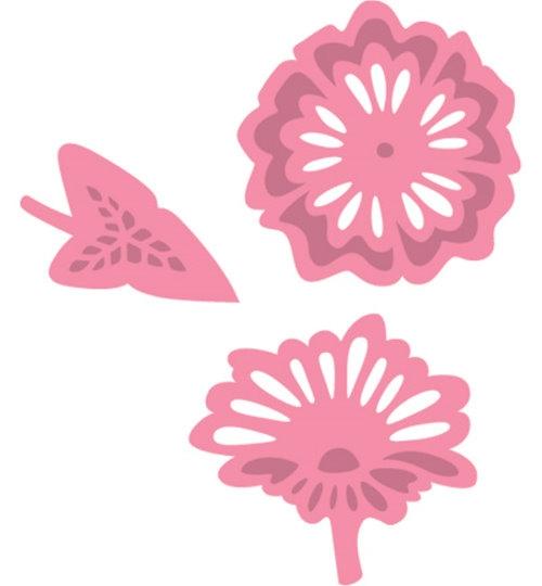 Stanzschablonen und Stempel im Set - Blumen und Blätter