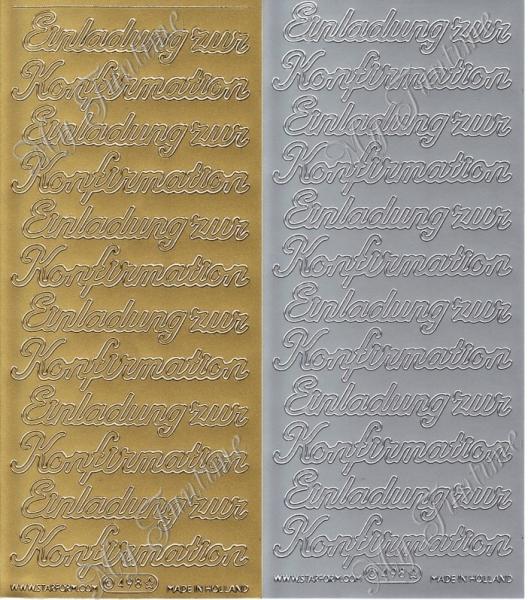 Einladung Zur Konfirmation   Sticker In Gold Oder Silber   Format 10x23cm