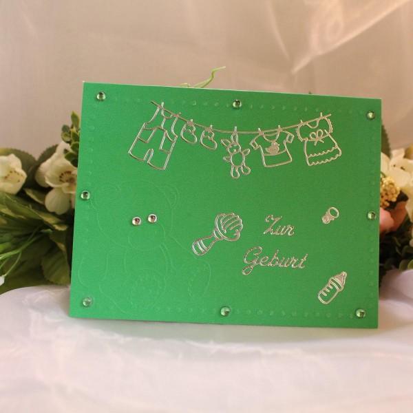 wunderschöne Grußkarte zur Geburt - mit Niedlicher Prägung in Grün