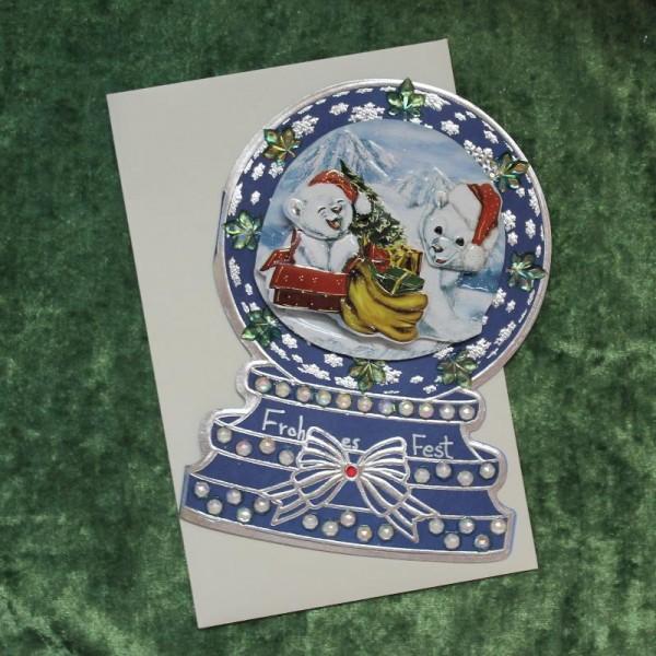 Grusskarte zum Weihnachtsfest - Schneekugel (Eisbären)
