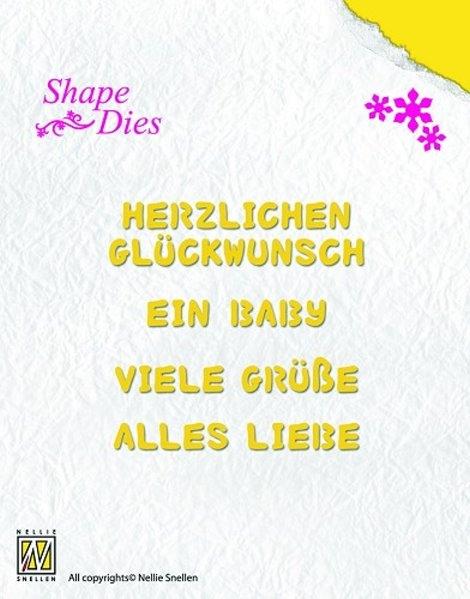 Glückwunschtexte - Stanzschablone - Shape Dies