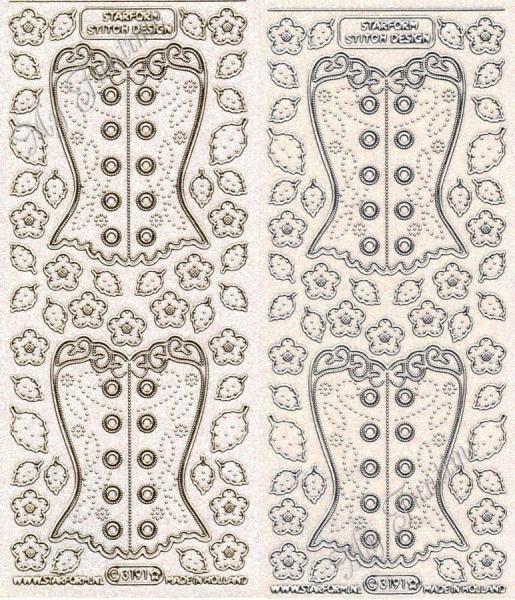 Stitch Design - Corset - Transparente Sticker mit Glitter- / Glitzereffekt in Gold oder Silber - For