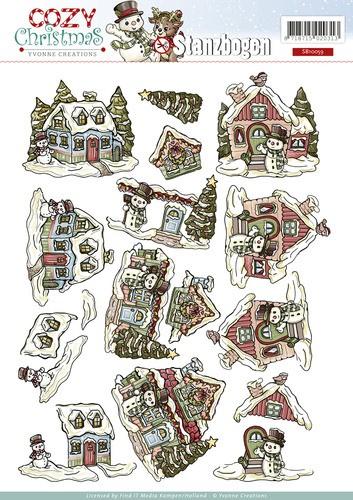Schneemann und Winterliche Häuser - Weihnachtlicher 3D - Stanzbogen von Yvonne Creations