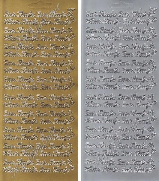 Zur Taufe - Sticker in Gold oder Silber - Format 10x23cm