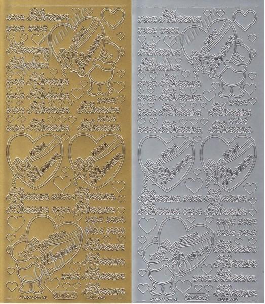 """Sticker - """"Von Herzen"""" in Gold oder Silber - Format 10x23cm"""