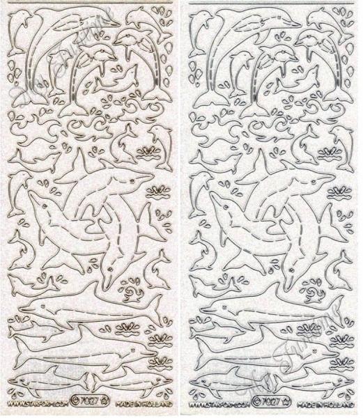Delfine - Transparentsticker mit Glitter- / Glitzereffekt in Gold oder Silber - Format 10x23cm