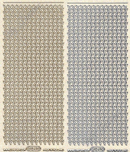 Rand / Border, Transparente Sticker mit Glitter- / Glitzereffekt in Gold oder Silber - Format 10x23c